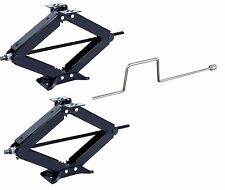 "Two 30"" 5000 lb RV Scissor Leveling Jacks Trailer jack camper with 1 Crank"