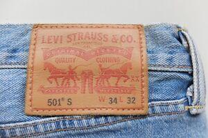 Levi's 501 S Light pale Blue W34 L32 Classic Skinny denim jeans