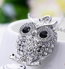 Owl Pendant Necklace Crystal Silver Plated Chain Vintage Watch Women Fashion