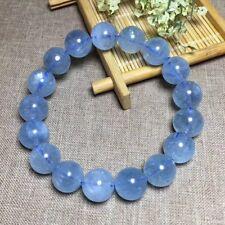 12.5mm Natural Blue Aquamarine Crystal Rough Bracelet Beads Healing