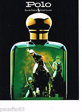 PUBLICITE ADVERTISING 065  1987  POLO  eau de toilette homme de RALPH LAUREN