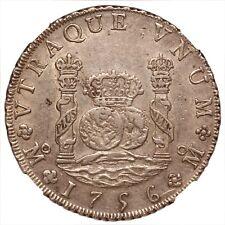 1756 Mexico 8 Reales Pillar Dollar, NGC AU-53