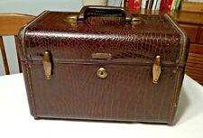 VTG Samsonite Brown Faux Alligator Train Case Luggage Style 4112, w/ Mirror GUC