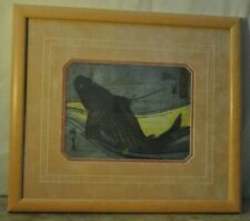 Cool Vintage Double Matted Framed Under Glass Coy Fish, Japanese Writing, Print