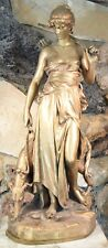 Eugene-Antoine Aizelin 1821-1902 Exquisite Bronze Sculpture of Diana & Borzoi