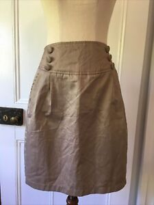 New Avocado size 14 Gloss Gold Pencil Skirt Pockets button detail side zip