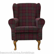 Wing Back Fireside Armchair Orthopaedic in Red & Green Tartan with Hardwood Legs