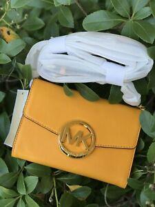 NWT Michael Kors Leather Hudson LG Phone Case /Clutch/ Crossbody Vint Yellow