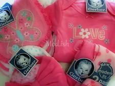 Gerber Baby Girl 11 Piece Pink Onesies Bodysuit Pant Cap and Bib Gift Set 3-9M