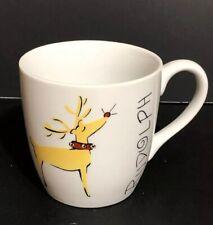 Pottery Barn REINDEER - RUDOLPH 16oz Christmas Mug Cup Porcelain China
