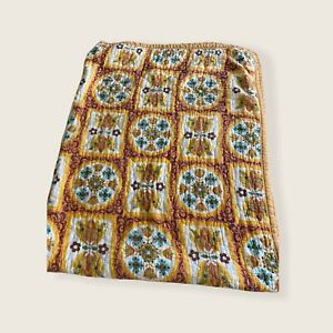 Vintage coverlet bedspread blanket quilted 70s floral mustard yellow boho MCM