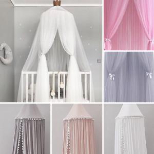 Baldachin Betthimmel Baby Bett Kinderbett Moskitonetz Zelt Tüll Weiß Grau Rosa