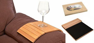 New Flexible Wooden Sofa Arm Rest Armchair Tray Drink Snack Holder Serving Table