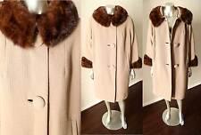 Mink Collar Cuff 100% Wool Fur Trim Worseted Taupe Brown Vintage  60s Coat M