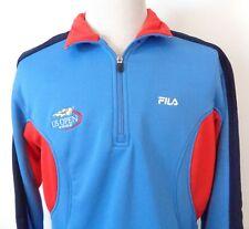 FILA US Open 2002 Medium 1/4 Zip Pullover Sweatshirt Slight Stretch Blue Red LS