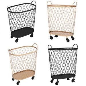 Metal Wire Basket With Wheels Handle Laundry Kitchen Shopping Storage Organizer