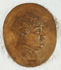 Antique Bronze Relief Portrait of a Woman