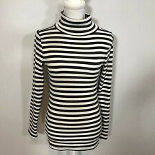 ABERCROMBIE & FITCH Women Turtleneck Sweater Top Size Small Black Stripes C196