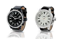 XXL Damenuhr von FAME extra große Armbanduhr Stahl Strass, Armband in Schwarz