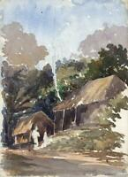FIGURES HOUSES CEYLON - SRI LANKA Antique Watercolour Painting c1920