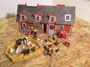 Playmobil 4142 Mitnehm Haus Bauernhof, Ziegen Schaafe Kuh Zaun