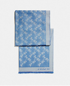 COACH Bicolor Horse and Carriage Oblong Scarf Sky Blue RRP£195 F26587 -STUNNING!