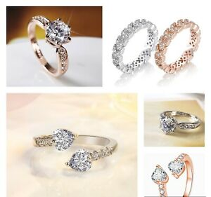 Adjustable Ring 925 Sterling Silver  Rose Gold Women Girls Jewellery Gifts UK