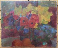 Rageade André huile sur panneau signée nature morte aux Fleurs