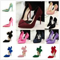 Women Party Club Shoes Suede Sexy Lady Point Toe Pumps Stiletto High Work Heels