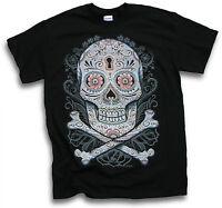 Floral Skull n Bones Pirate Biker Gothic Mens T Shirt Sm - 3XL