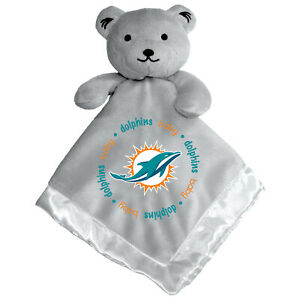 Miami Dolphins Gray Baby Security Bear Blanket, NFL Licensed