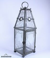 18th / 19th Century French Tin & Engraved Glass Candle Lantern