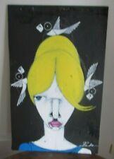 MICHAEL BANKS Outsider FOLK ART LARGE PAINTING YELLOW GIRL Birds  ALABAMA
