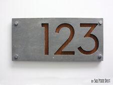 Modern House Numbers,Concrete & Wood-Sign Plaque - Door Number Rectangle