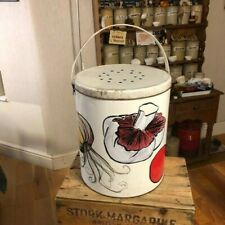 More details for vintage mid-century large colourful vegetable storage bin / tin – quirky – retro