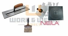 "NELA 14"" Chrome Steel Trowel, Aluminium Hawk 5"" Brush Plasterers Bundle in stock"