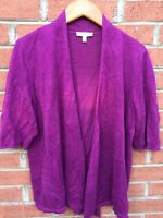 Eileen Fisher Womens Fuchsia Linen Open Cardigan Fashion Sweater Knit SZ Medium