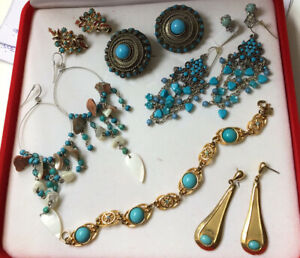 Mixed Lot Turquoise 7x Jewellery Includ SARAH COVENTRY CANADA GOLD TONE BRACELET
