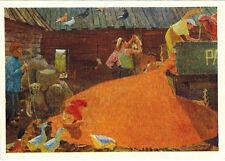 1964 Russian Socialist Realism card AUGUST DAY OF KOLKHOZ MEMBER by A.Plastov