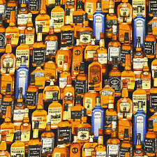 Cotton Printed Fabric FQ - Whisky Brandy Gin Vodka Liqueur Bottle Drink Party S3