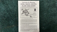 LIONEL # 397 REMOTE CONTROL COAL LOADER INSTRUCTIONS PHOTOCOPY