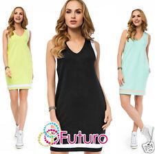 Casual Shift Dress With Pockets V Neck Sleeveless Party Tunic Sizes 8-12 FA409