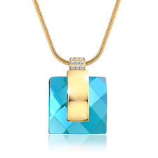 DF101 Handmade With Swarovski Crystals Teal Blue Green Square Necklace $145