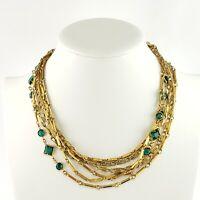 Vintage Emerald Green Rhinestone Necklace Multi Strand Gold Tone Chain Link Long