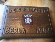 "WWII US Army 82nd Airborne Carved Wood Photo Album 17"" x 11"""