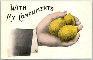 "Vintage 1900s Comic Greetings Postcard ""WITH MY COMPLIMENTS"" Handful of Lemons"