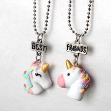 2Pcs Unicorn Pendant Best Friends Charm Chain Necklace Kids Jewelery Party Gift