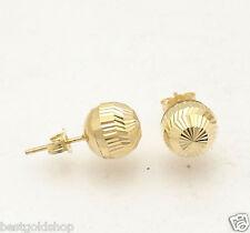 9mm Diamond Cut Ball Stud Earrings Real 14K Yellow Gold Push Back