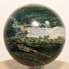 "2.3"" Natural Green White Agate Sphere Polished Crystal Quartz Mineral Ball India"