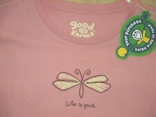 Life is Good Karma Women Organic Cotton T Shirt Dragonfly Shell Pink Small NWT
